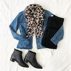 OOTD OCT 24 2018 Wearing black, ivory and denim with a pop of leopard today! OOTD OCT 24 2018 Wearing black, ivory and denim with a pop of leop Leopard Heels Outfit, Heels Outfits, Casual Outfits, Cute Outfits, Fashion Outfits, Fashion Trends, Leopard Scarf Outfits, Leopard Print Scarf, Casual Clothes