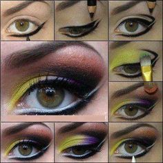 This eye makeup tutorial makes it look so easy! Green Eyeshadow, Makeup For Green Eyes, Eyeshadow Makeup, Eyeshadow Ideas, Crazy Makeup, Makeup Looks, Makeup Lessons, Applying Eye Makeup, Beautiful Eye Makeup