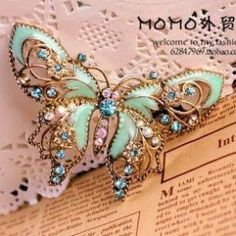butterfly jeweled broach