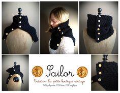 """Snood modèle """"Sailor"""" pour un look navy!    Très joli Snood (écharpe tube), à larges mailles en point de riz, réalisé en laine filée dans une filature"""