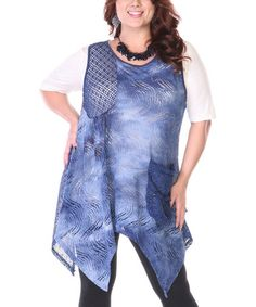 Take a look at this Blue & White Crochet Handkerchief Hem Tunic - Plus by Lily on #zulily today!