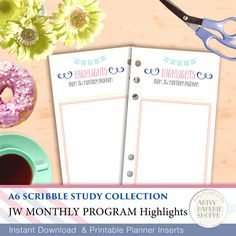 Monthly Program Highlights  -  Planner Inserts - JW Study Scribble Collection - A6