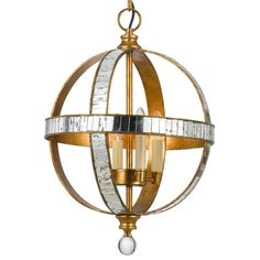 Latitude Mirrored Globe Gold Pendant shades of light  19 h x 13 w