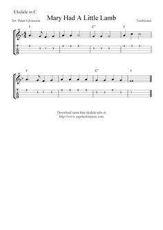 Free Sheet Music Scores: Mary Had A Little Lamb, free ukulele tablature sheet music notes