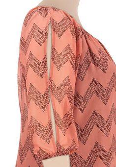 chevron stripe cold shoulder plus size chiffon blouse - maurices.com