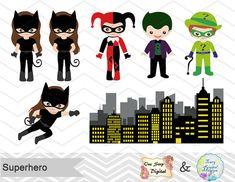 Instant Download Superhero Digital Clipart by OneStopDigital