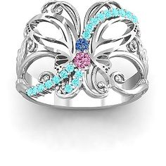 Glimmering Butterfly Ring with thyroid cancer colors