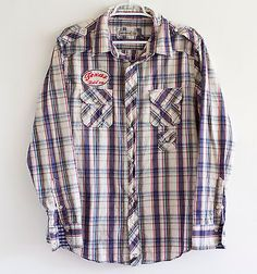 Paper-Denim-Cloth-Designer-Vintage-Style-Shirt-Mens-Large-Pearl-Snaps-Patches
