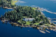"""This private peninsula in stunning Penobscot Bay is anchored by a 1918 manse, one of the best-known homes on the island of Islesboro"". Literal dream home. Beautiful World, Beautiful Homes, Beautiful Places, Extravagant Homes, International Real Estate, Small Island, Places To See, Scenery, Around The Worlds"