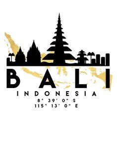 BALI INDONESIA SILHOUETTE SKYLINE MAP ART von deificusArt