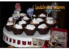 just Sweet and Simple: Harry Potter Cauldron Creams - lovely idea - choc mousse in a hard choc. Don't fancy making the shell on balloon though - use silicone bun cases - food grade. Harry Potter Food, Harry Potter Birthday, Posh Nosh, Semi Sweet Chocolate Chips, Almond Cakes, Cauldron, Cream Recipes, Quick Easy Meals, Yummy Treats