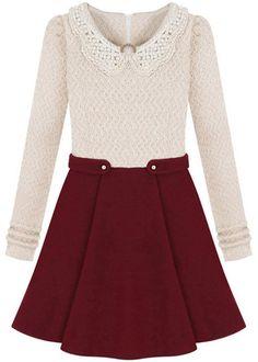 Vestido combinado perla rojo manga larga-Beige 15.82