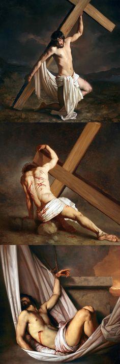 "Roberto Ferri, ""Via Crucis"" (Stations of the Cross) mio dio. Jesus Christ Images, Jesus Art, Catholic Art, Religious Art, Jesus Our Savior, Eucharist, Jesus Pictures, Sacred Art, Christian Art"