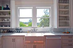 Beautiful white kitchen. view. Farmhouse Remodel Wa, Rohleder Borges Architecture