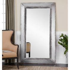 Uttermost Lucanus Oversized Silver Leaner Mirror - x in. - The Uttermost Lucanus Oversized Silver Leaner Mirror – x in. is a heavily distressed piece with an aged silver finish and rustic brown. Silver Floor Mirror, Oversized Floor Mirror, Wood Mirror, Floor Mirrors, Bathroom Mirrors, Vanity Mirrors, Mirror Bedroom, Mirror Glass, Mirror Mirror
