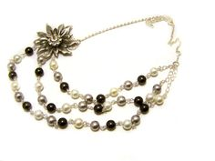 Layered Swarovski Pearl and Rhinestone Flower Necklace by CYDesignStudio