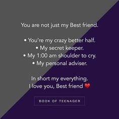 To my crazy better half ❣ – Best Quotes Missing Best Friend Quotes, Best Friend Book, Friends In Love, Lines For Best Friend, Crazy Friends, Besties Quotes, True Quotes, Wish Quotes, Funny Quotes
