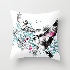 One+Fell+Swoop,+Teal+&+Pink+Throw+Pillow+by+Esther+Pallett+-+$20.00