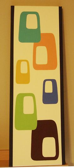 Mid Century Modern 8 X 24 Original Acrylic Painting by donnamibus