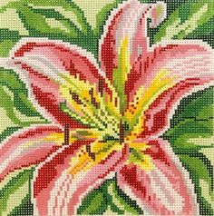 Pink Lily (daylily) 13m Needle Crossing needlepoint canvas