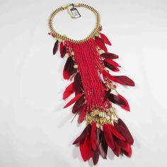 Collier plume Boho chic rouge