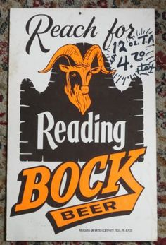 READING BOCK BEER ADVERTISING POSTER WALL SIGN READING PA. Beer Poster, Poster Wall, Reading Pennsylvania, Reading Pa, American Beer, Triomphe, Advertising Poster, The Good Old Days, Wall Signs