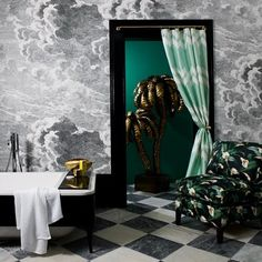 Discover wall mural design ideas on HOUSE - design, food and travel by House & Garden. Cole & Son Nuvole cloud-print wallpaper was originally designed by Fornasetti. Bathroom Interior Design, Interior, Bathroom Wallpaper, Fornasetti Wallpaper, Stylish Bathroom, Glamorous Bathroom, Trending Decor, Cole And Son Wallpaper, Interior Design