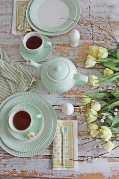 Tea-time for Spring - soft boiled egg in a cup, white teapot, beautiful soft  yellow tulips - ♥