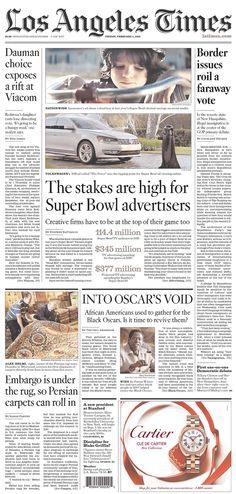 #20160205 #USA #CAZLIFORNIA #LosAngeles #LosAngelesTimes Friday FEB 5 2016 http://www.newseum.org/todaysfrontpages/?tfp_show=80&tfp_page=1&tfp_id=CA_LAT