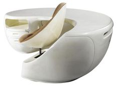 Space Age Design – Maurice Calka and Jean Leleu-Deshays Boomerang Desk, circa 1969.  On original recently sold at Christies for nearly $26,000
