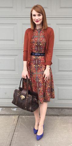 Dress, Zara (thrifted); cardigan, J. Crew (via eBay); belt, Anthro; shoes, J. Crew (via consignment); bag, Mulberry