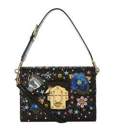 DOLCE & GABBANA Lucia Embellished Shoulder Bag. #dolcegabbana #bags #shoulder bags #hand bags #leather #