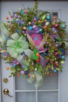 deco+mesh+wreaths | Deco Mesh Easter Wreath | WREATHS
