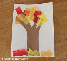 tissue paper fall tree activity (can use advanced technique of wrapping squares around the end of a pencil for older kids)