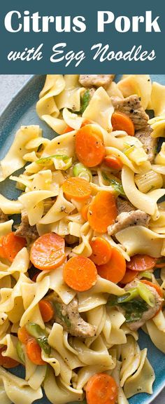 Citrus Pork with Egg Noodles is quick and EASY, perfect for a midweek dinner! With strips of pork loin sautéed with cumin and garlic, served in a citrusy sauce with carrots and egg noodles.