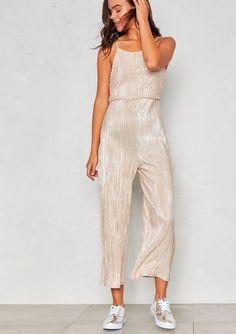5b5ce4849fd2 Missyempire - Nellie Champagne Foil Pleated Open Back Jumpsuit Open Backs