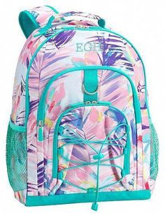 Ice pack girl $91 Pottery barn Aqua Floral Palm BACKPACK bag+Large Water Bottle
