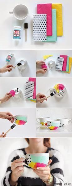 DIY:Taza decoupage con pañuelos tissue. | Decorar tu casa es facilisimo.com
