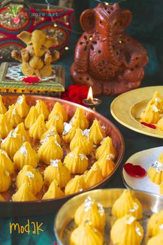 Modaks are Indian desserts especially made during Ganesh Chaturthi. I have made this one using the kesar peda recipe, andhence the name Kesar Peda Modak. Indian Dessert Recipes, Indian Sweets, Indian Recipes, Peda Recipe, Ganesha, Ganesh Idol, Happy Ganesh Chaturthi, Best Vegetarian Recipes, Healthy Recipes
