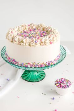 This Classic White Cake recipe pairs fluffy vanilla cake layers with a silky white Swiss meringue buttercream. The perfect cake for any ocassion! White Birthday Cakes, Novelty Birthday Cakes, Cupcake Birthday Cake, Birthday Cake With Candles, Strawberry Layer Cakes, Rainbow Layer Cakes, Bolo Tumblr, Best White Cake Recipe, Classic Cake