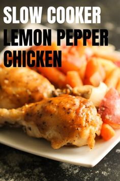 Easy Slow Cooker Chicken with Lemon Pepper on SixSistersStuff.com.  We love this easy slow cooker lemon pepper chicken using chicken drumsticks. Chicken drumsticks are so affordable and we've turned them into an easy and delicious dinner your family will love. #slowcooker #drumsticks