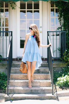 chambray dress with pom poms
