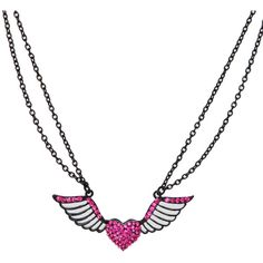 Black And Pink Bling Winged Heart Necklace | Hot Topic ($4.50) ❤ liked on Polyvore featuring jewelry, necklaces, accessories, hearts, hot topic, chain necklace, heart jewellery, pendant jewelry, chain pendants and heart jewelry