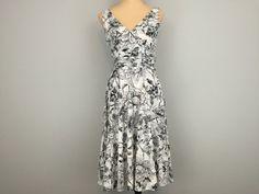 Black  White Dress Sundress Size 4 Small Floral by MintJulepShoppe
