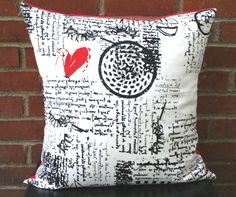 Pillow Cover - Sending All My Lovin' Vintage Ikea Fabric Cotton - Decorative Pillow $22
