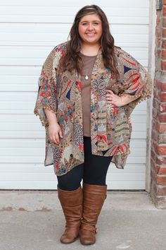 Tribal Pom Pom Kimono {Curvy} - The Fair Lady Boutique - 1