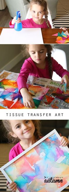 tissue transfer art {easy kid art project Tissue transfer art is not only gorgeous, it's totally easy enough for kids to make! Fun kid's art project – perfect indoor activity for rainy days. tissue transfer art {easy kid art project- uses a couple of ki Easy Kids Art Projects, Kids Crafts, Easy Art For Kids, Toddler Crafts, Preschool Crafts, Children Art Projects, Art Project For Kids, Artwork For Kids, Art For Children