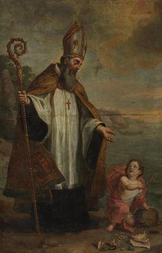 Saint Augustine of Hippo / San Agustín de Hipona // Ca. 1655 // Gaspar de Crayer // St. Augustine and the Child on the Seashore // #HolyTrinity #Theology #bishop