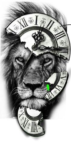 Clock Tattoo Design, Lion Tattoo Design, Tattoo Design Drawings, Tattoo Sketches, Lion Design, Lion Tattoo Sleeves, Best Sleeve Tattoos, Tattoo Sleeve Designs, Lion Head Tattoos