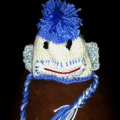 Sock monkey hat with matching diaper cover...